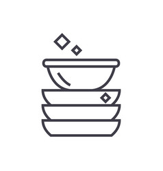 dishes line icon sign on vector image vector image