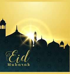 Eid mubarak greeting card design with mosque and vector