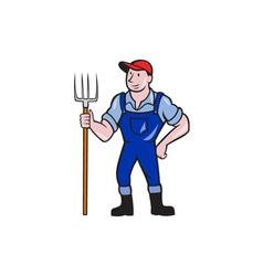 Farmer holding pitchfork standing cartoon vector