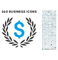 Financial laurel wreath icon with flat set vector