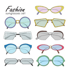 hand drawn fashion sunglasses set realistic vector image vector image