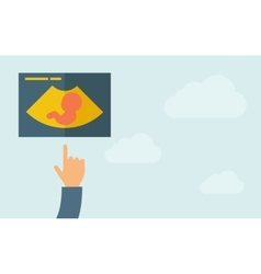 Hand pointing to a ultrasound icon vector