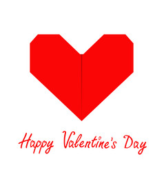 Happy valentines day sign symbol red paper heart vector