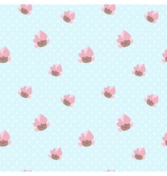 Kawaii cupcakes seamless pattern pink and vector