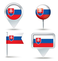 Map pins with flag of Slovakia vector image vector image