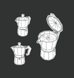 Moka pot set isolated vector