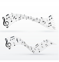 Musical notes wave background design vector