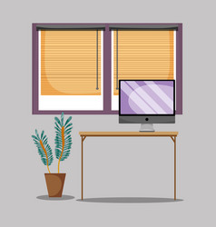 Office flat with desk and work accesories vector