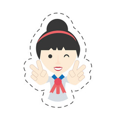 Portrait japanese girl student uniform vector
