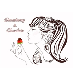 Pretty girl eating strawberry and chocolate vector image