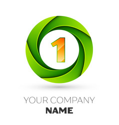 realistic number one logo in the colorful circle vector image vector image