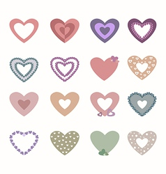 Set of beautiful hearts vector image vector image