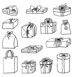 set of hand-painted gift boxes vector image