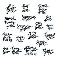 set of handwritten sale inscriptions vector image