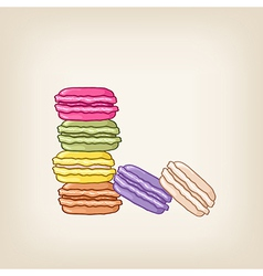 Stack of colourful macaroons vector