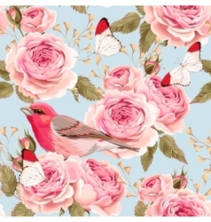 English roses and birds seamless vector image