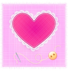 Red textile heart with lace needle and button vector