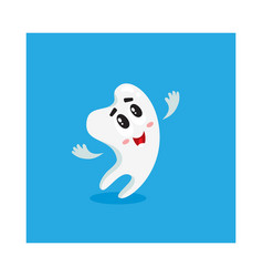 Cute and happy shiny white tooth character looking vector