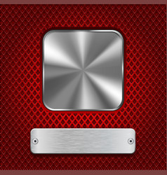 Metal square button with rectangle plate on red vector