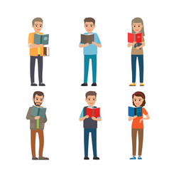 Cartoon reading people male and female books vector