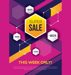 Bright colorful sale banner with hexagons vector