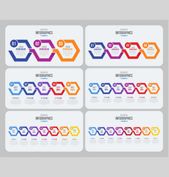 Steps timeline infographic template with arrows vector