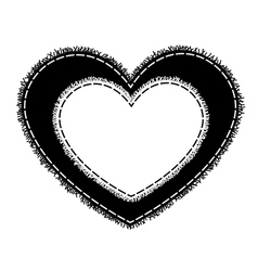 Silhouette of sewing heart with a fringe vector