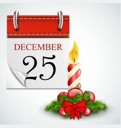 25 December Opened Calendar With Candle vector image vector image