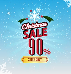 Christmas Sale 90 Percent typographic background vector image