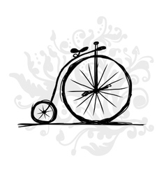 Bicycle retro sketch for your design vector