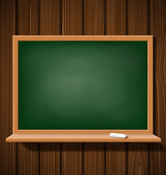 Blackboard with a chalk on a wooden wall vector