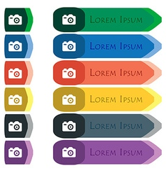 Photo camera icon sign set of colorful bright long vector