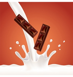Pouring milk splash with chocolate vector