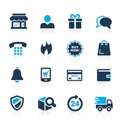E-shopping icons azure vector
