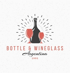 Bottle and wine glasses vintage retro design vector