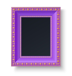 Violet frame with gold patterns isolated vector image
