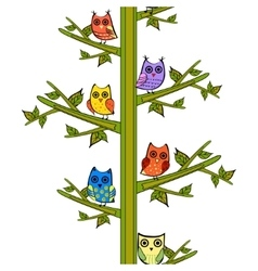 Owl on a tree branch vertical seamless vector