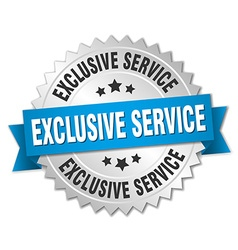 Exclusive service 3d silver badge with blue ribbon vector