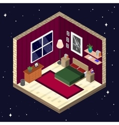 Room interior in isometric style bedroom with vector
