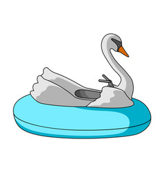 a boat for children in the shape of a swan vector image vector image