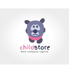 Abstract bear cute character logo icon concept vector image
