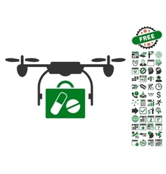 Airdrone pharmacy delivery icon with bonus vector