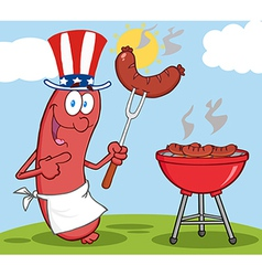 BBQ cooked sausage cartoon vector image vector image