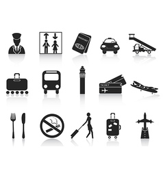 black airport icons set vector image