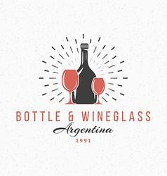 Bottle and wine glasses vintage retro design vector