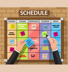 Bulletin board hanging on brick wall and hands vector