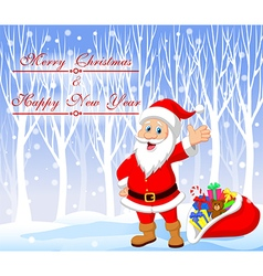 Cartoon santa clause with winter background vector