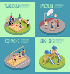 Children playground isometric compositions vector