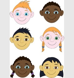 Childrens faces vector