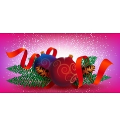 Christmas Decoration with ribbon and fir branches vector image vector image